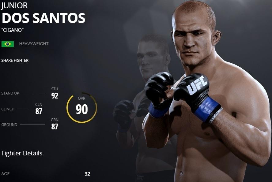 Junior dos Santos em versão virtual do UFC