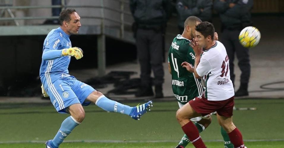 Fernando Prass afasta perigo da área do Palmeiras no jogo contra o Fluminense