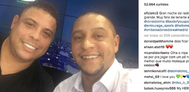 Os ex-jogadores Ronaldo e Roberto Carlos estão inseparáveis em Madri