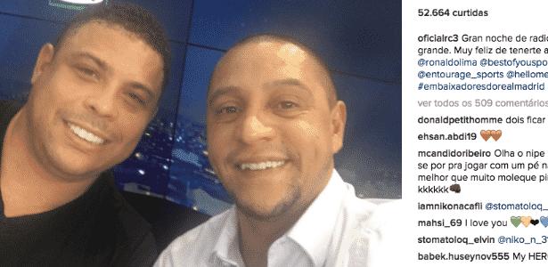 Os ex-jogadores Ronaldo e Roberto Carlos estão inseparáveis em Madri - Reprodução (Instagram)