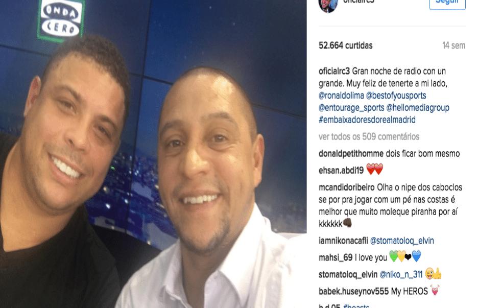 Ronaldo e Roberto Carlos não se desgrudam em Madri