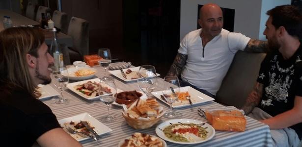 Messi e Jorge Sampaoli se encontraram em Barcelona