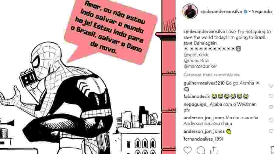 Imagem postada por Anderson Silva aumenta rumores sobre próxima luta  - Reprodução/Instagram