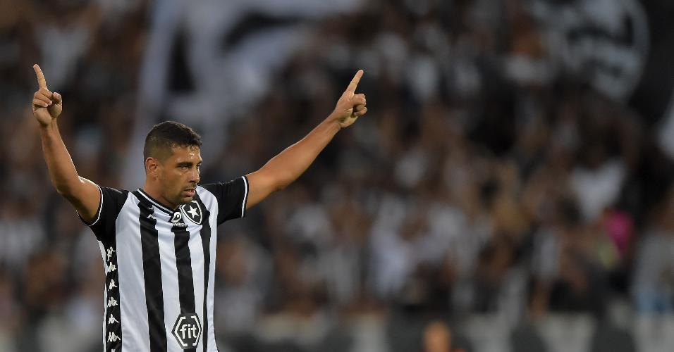Diego Souza comemora gol do Botafogo durante partida contra o CSA