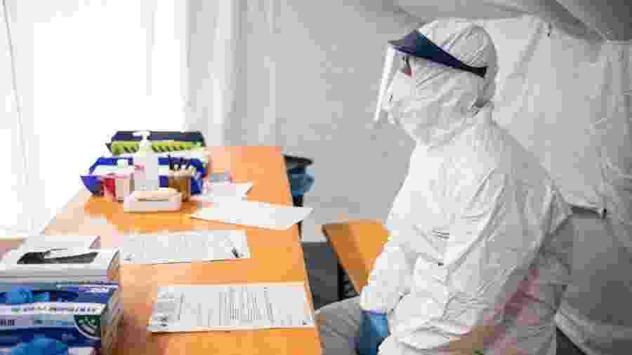 Triagem de prevenção ao covid-19 em um hospital de Turim, na Itália - Stefano Guidi/Getty Images