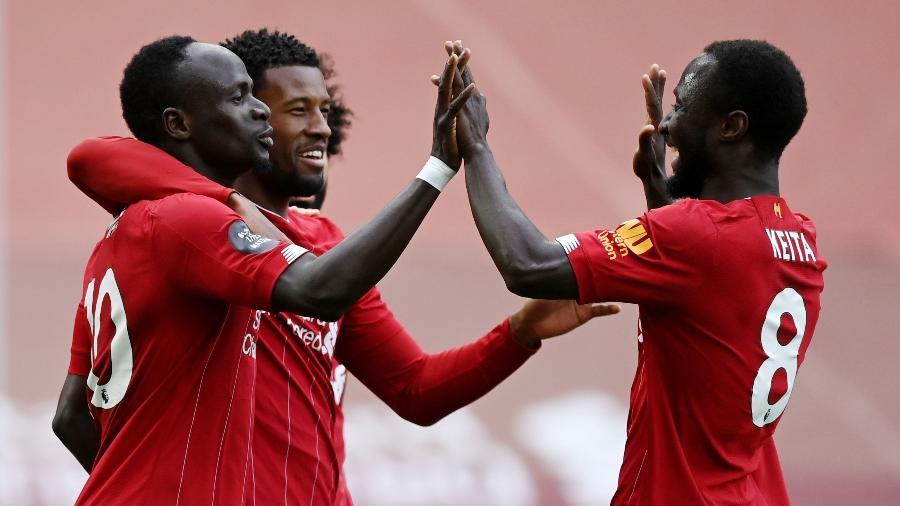 Mané comemora gol do Liverpool sobre o Aston Villa - Shaun Botterill / Pool via REUTERS
