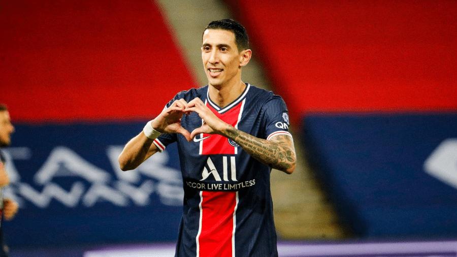 Ángel Di María comemora gol pelo PSG contra o Rennes pelo Campeonato Francês - Divulgação/Twitter/PSG