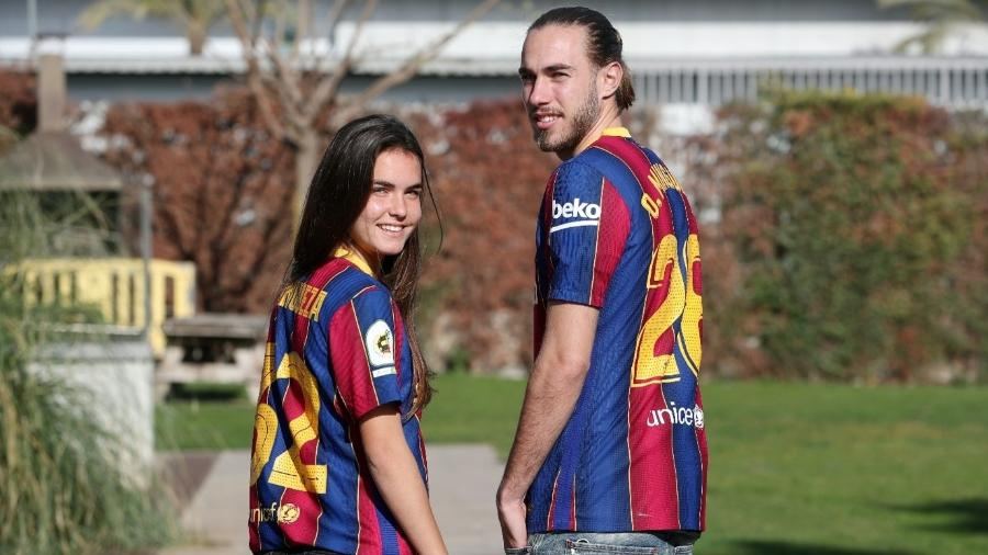 Ariadna e Óscar Mingueza, irmãos que defendem os times feminino e masculino do Barcelona - Divulgação/La Liga
