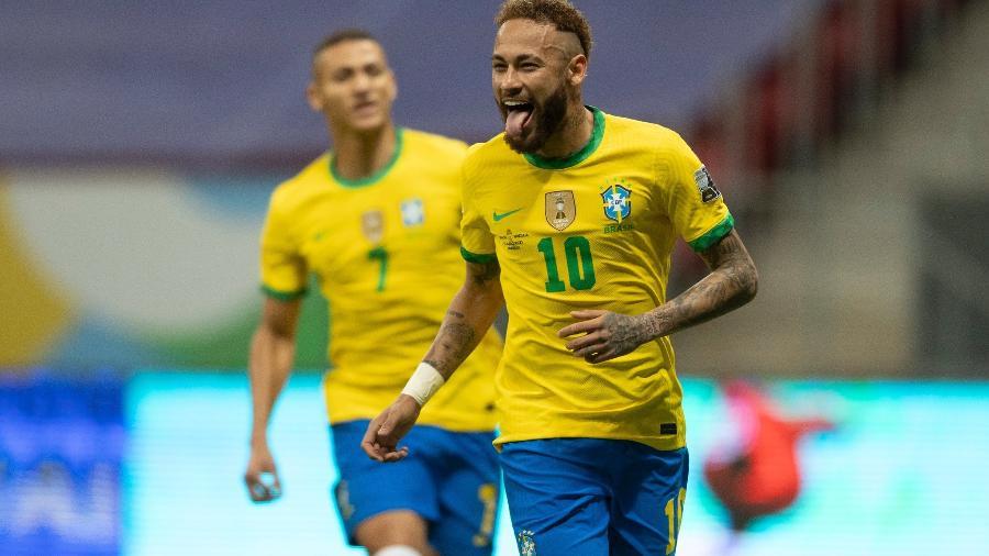Neymar marcou o segundo gol do Brasil sobre a Venezuela, na abertura da Copa América, em cobrança de pênalti - Lucas Figueiredo/CBF