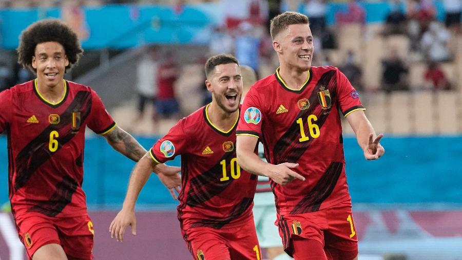 Thorgan Hazard comemora gol da Bélgica contra Portugal na Eurocopa - POOL/AFP via Getty Images