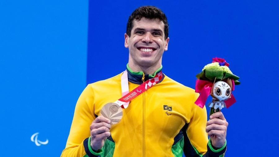 Phelipe Rodrigues conquistou o bronze nos 50m livre da classe S10 nas Paralimpíadas 2020 - Alê Cabral/CPB
