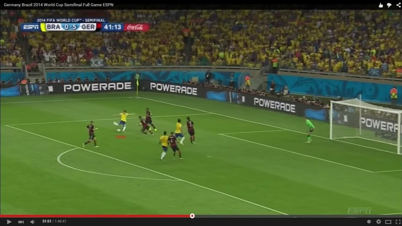 O Brasil, diga-se, tinha começado o jogo levemente melhor, ao menos nos cinco primeiros minutos, quando chutou duas vezes a gol. Depois do primeiro gol alemão, a seleção só voltaria a finalizar quase 30 minutos depois, com uma fraca tentativa de Oscar.