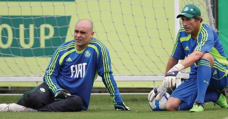 Marcos ao lado do preparador de goleiros Carlos Pracidelli, em treino do Palmeiras
