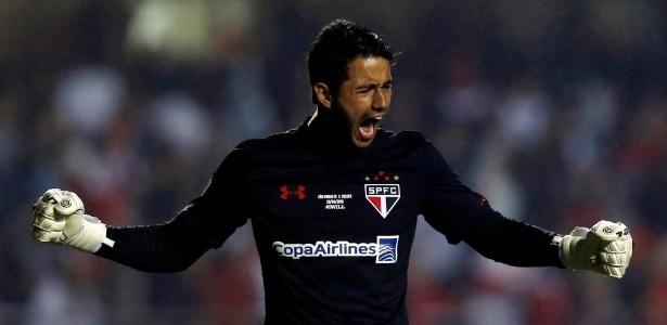 Renan Ribeiro comemora gol do São Paulo contra o Toluca nas oitavas na Libertadores 2016