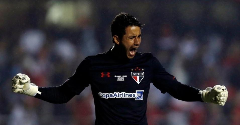 Renan Ribeiro comemora gol do São Paulo contra o Toluca nas oitavas na Libertadores
