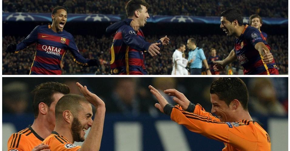 Trios de ataques poderosos são os destaques de Barça e Real