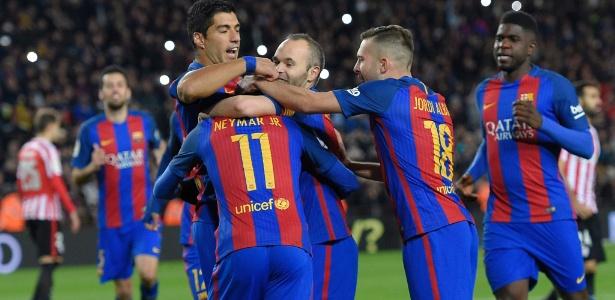 Jogadores do Barcelona comemoraram bastante a vaga para as quartas de final