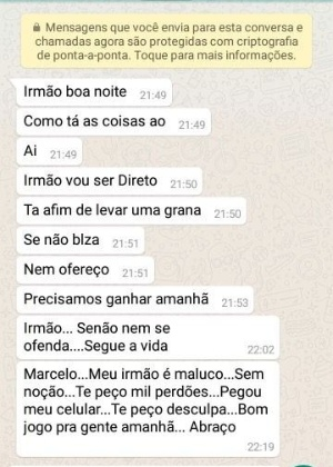 5.abr.2017 - Mensagem de WhatsApp sugere que jogador do Mogi Mirim aceite dinheiro para ajudar a manipular o resultado contra o Votuporanguense. O Mogi perdeu por 2 a 0 a partida no sábado (1) e denunciou o caso depois