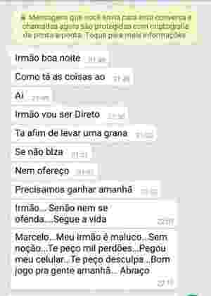 5.abr.2017 - Mensagem de WhatsApp sugere que jogador do Mogi Mirim aceite dinheiro para ajudar a manipular o resultado contra o Votuporanguense. O Mogi perdeu por 2 a 0 a partida no sábado (1) e denunciou o caso depois - Reprodução
