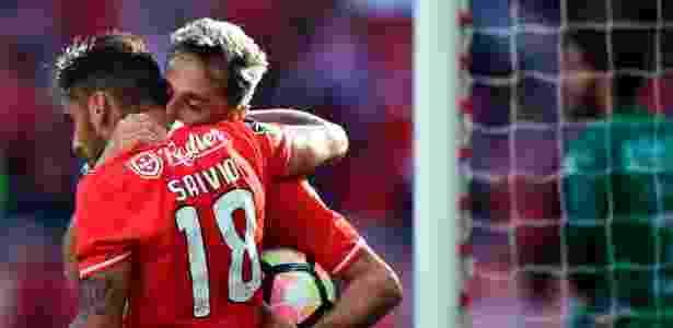 Jonas comemora um dos gols da vitória do Benfica sobre o Estoril - Patricia de Melo Moreira/AFP Photo