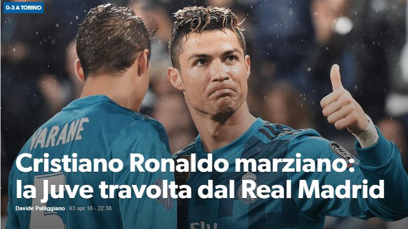 """Os italianos do Corriere dello Sport chamaram Cristiano Ronaldo de """"marciano"""""""