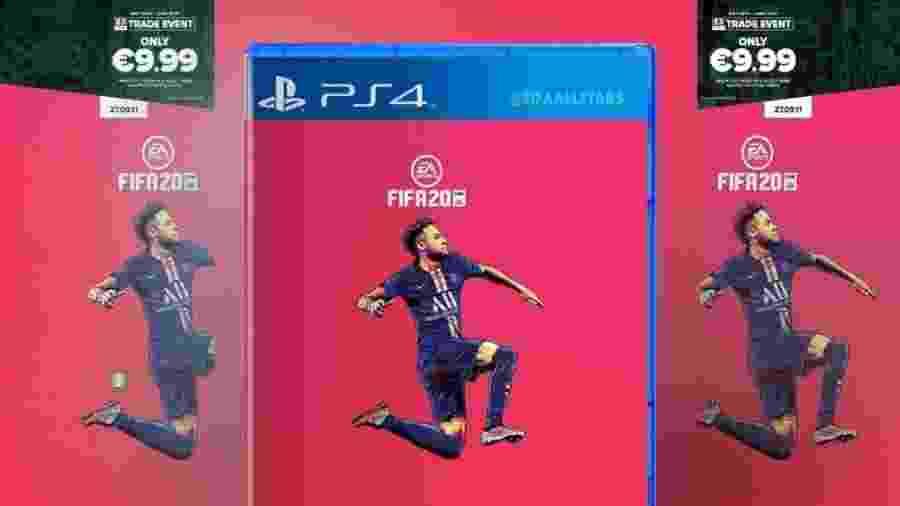 Suposta foto do Fifa 20 com Neymar estampando a capa - Reprodução/Gamestop