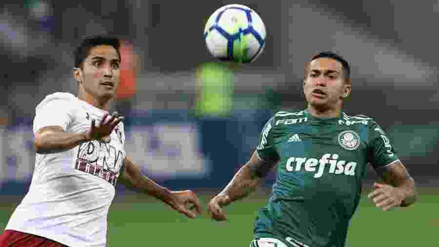 Igor Julião, do Fluminense, disputa lance com Dudu, do Palmeiras, no Brasileirão de 2018 - Cesar Greco/SE Palmeiras