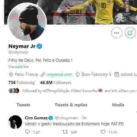 Neymar curte tweet de Ciro Gomes com crítica a Bolsonaro - Reprodução/Twitter - Reprodução/Twitter