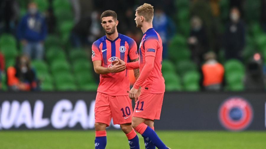 Pulisic e Timo Werner marcaram dois dos quatro gols do Chelsea  - KIRILL KUDRYAVTSEV/AFP