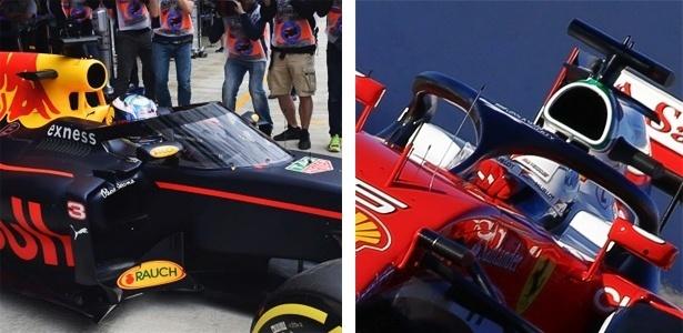 Proteções testadas pela Red Bull (aerotela) e pela Ferrari (halo) - Alexander Nemenov e Eric Alonso/AFP
