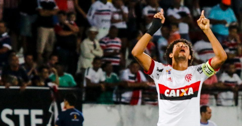 Willian Arão festeja gol do Flamengo contra o Santa Cruz