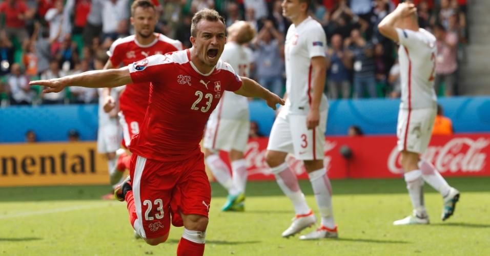 Shaqiri vibra com o gol de empate da Suíça contra a Polônia na Euro-2016