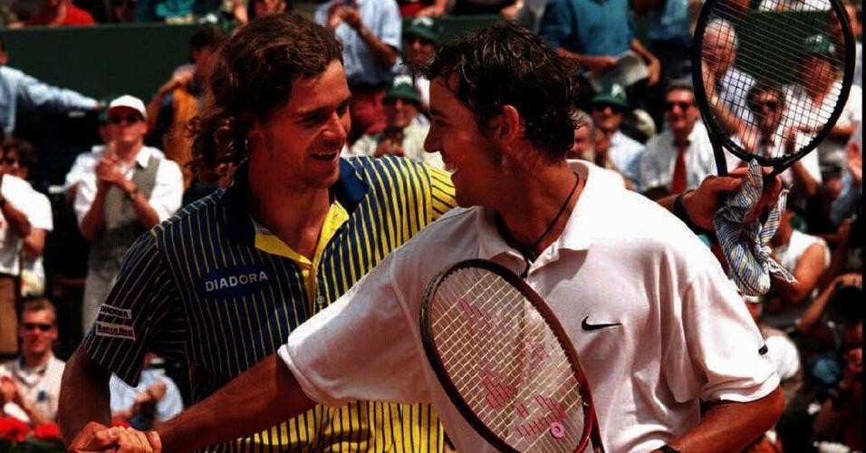 Gustavo Kuerten e Filip Dewulf durante semifinal em Roland Garros de 1997