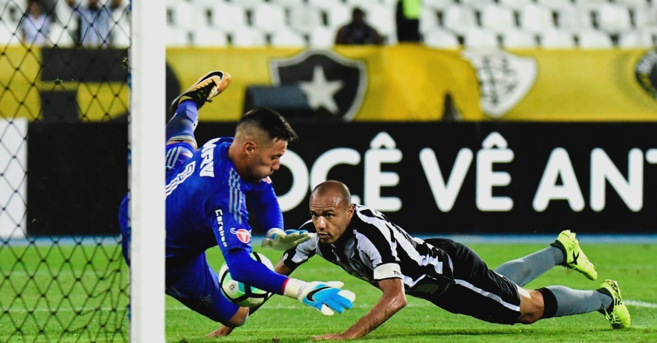 Diego Alves, do Flamengo, defende cabeçada de Roger, do Botafogo