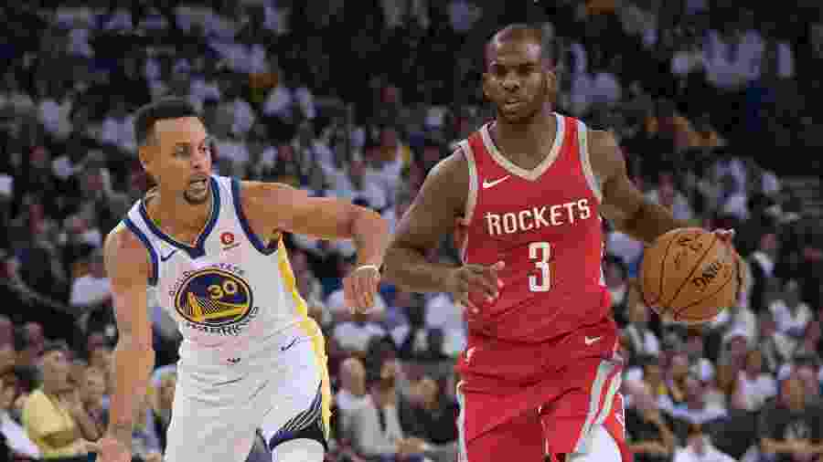 Chris Paul e Stephen Curry durante Rockets x Warriors  - Kyle Terada/USA Today Sports