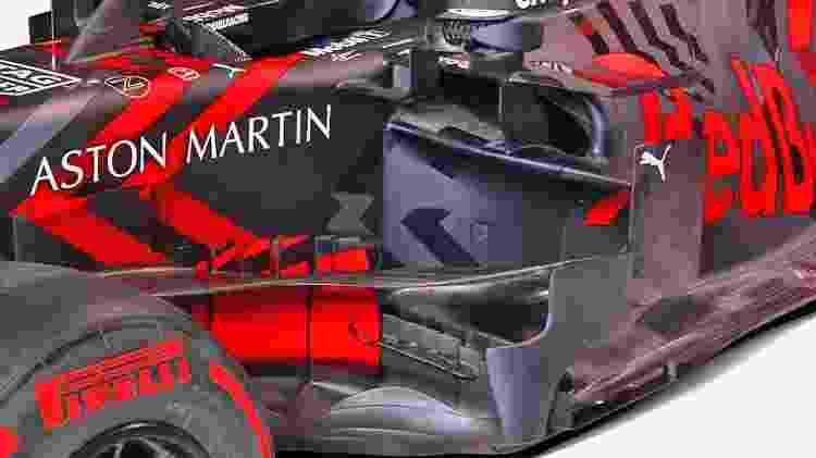 Detalhe do sidepod da Red Bull chamou a atenção no lançamento - Divulgação