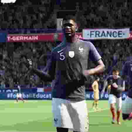 Comemoração do Umtiti FIFA 20 - Reprodução/FIFA 20