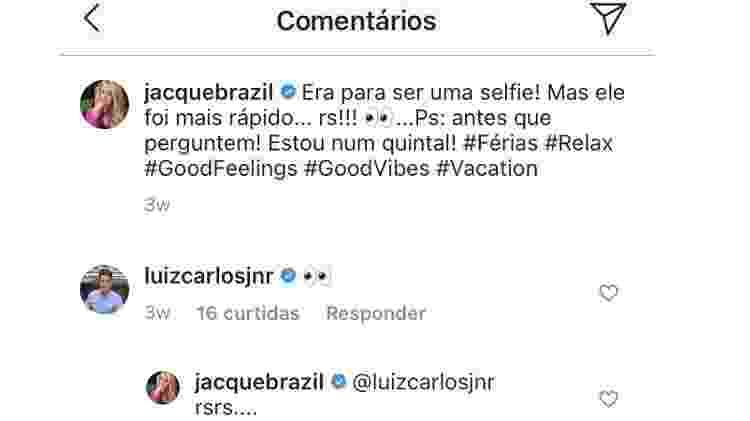 Luiz Carlos Jr comenta em post de Jacqueline Brazil - reprodução/Instagram - reprodução/Instagram