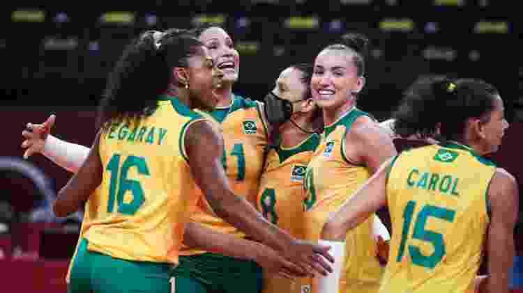 Jogadoras de vôlei do Brasil celebram durante duelo com a Coreia do Sul, nos Jogos Olímpicos de Tóquio - Wander Roberto/COB - Wander Roberto/COB