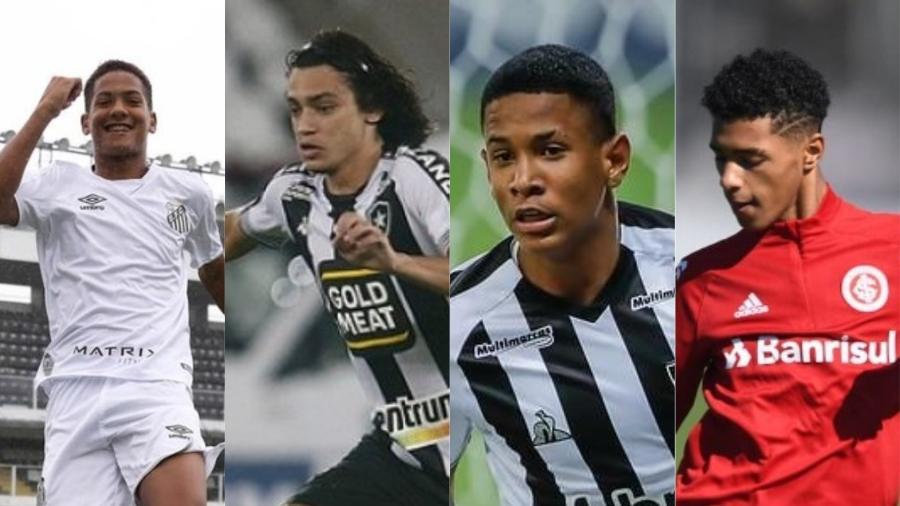 Ângelo, Matheus Nascimento, Savinho e Tobias são os destaques brasileiros da geração 2004 - Divulgação Santos, Vitor Silva, Pedro Souza e Ricardo Duarte