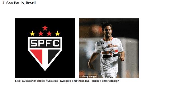Escudo do São Paulo foi eleito o melhor do mundo - Reprodução / Daily Mail - Reprodução / Daily Mail