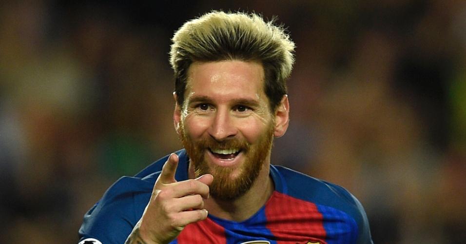 19.out.2016 - Lionel Messi comemora um de seus gols na vitória do Barcelona sobre o Manchester City pela Liga dos Campeões