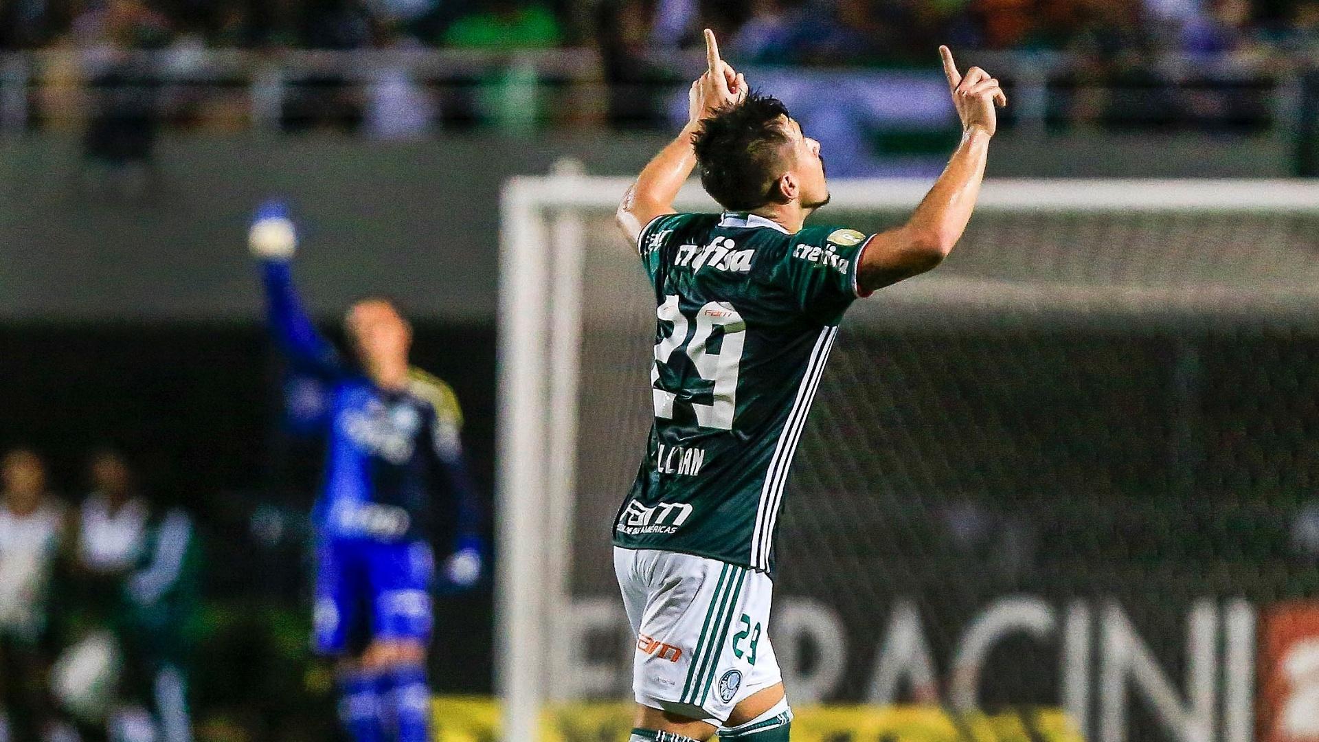 Willian comemora gol do Palmeiras contra o Novorizontino