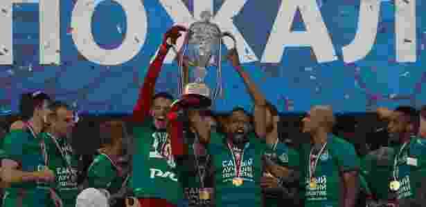 Os brasileiros Guilherme, Maicon e Ari comemoram título da Copa da Rússia de 2017 - Divulga??o - Divulga??o