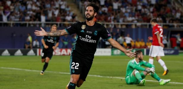 Isco comemora após marcar pelo Real Madrid sobre o Manchester United