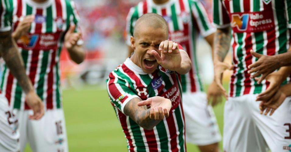 Marcos Júnior comemora seu gol no duelo entre Fluminense e Flamengo pela segunda rodada da Taça Rio em Cuiabá, na Arena Pantanal