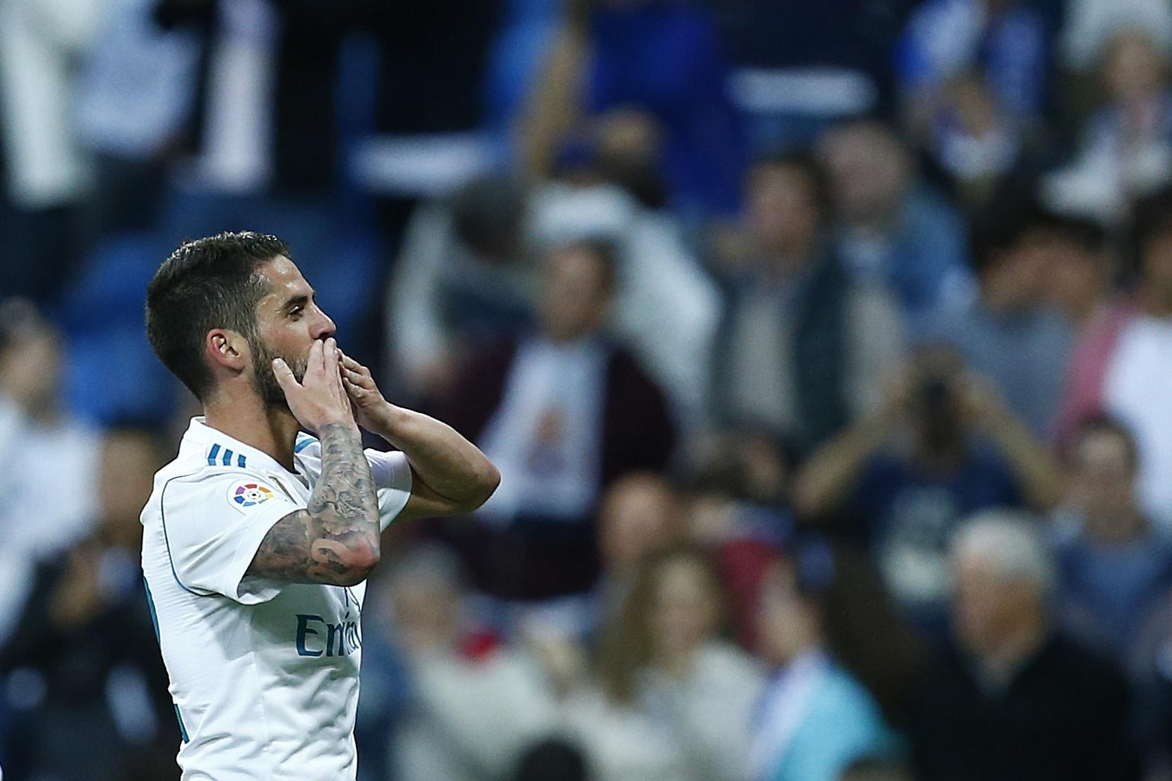 Isco comemora após marcar o terceiro gol do Real Madrid contra o Celta