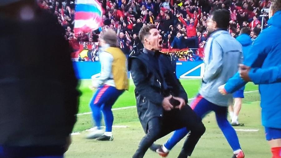 Simeone faz gesto obsceno após gol do Atlético de Madri contra a Juventus - Reprodução