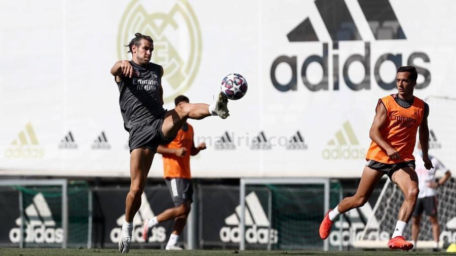 Gareth Bale no treino do Real Madrid antes do confronto com o Manchester City, pela Liga dos Campeões - Divulgação / Antonio Villalba / Real Madrid
