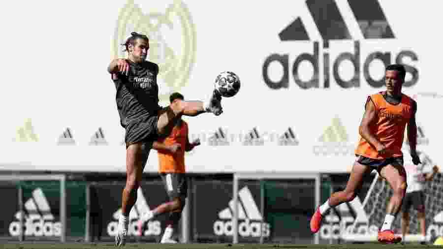 Gareth Bale no treino do Real Madrid antes do confronto com o Manchester City; galês está fora do jogo - Divulgação / Antonio Villalba / Real Madrid